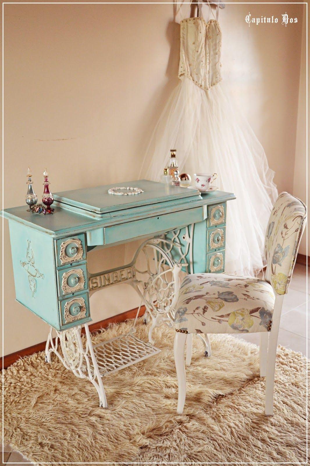 Una Vez M S Trabajo Sobre Una Antigua M Quina De Coser Para Crear  # Muebles Toque Antiguo
