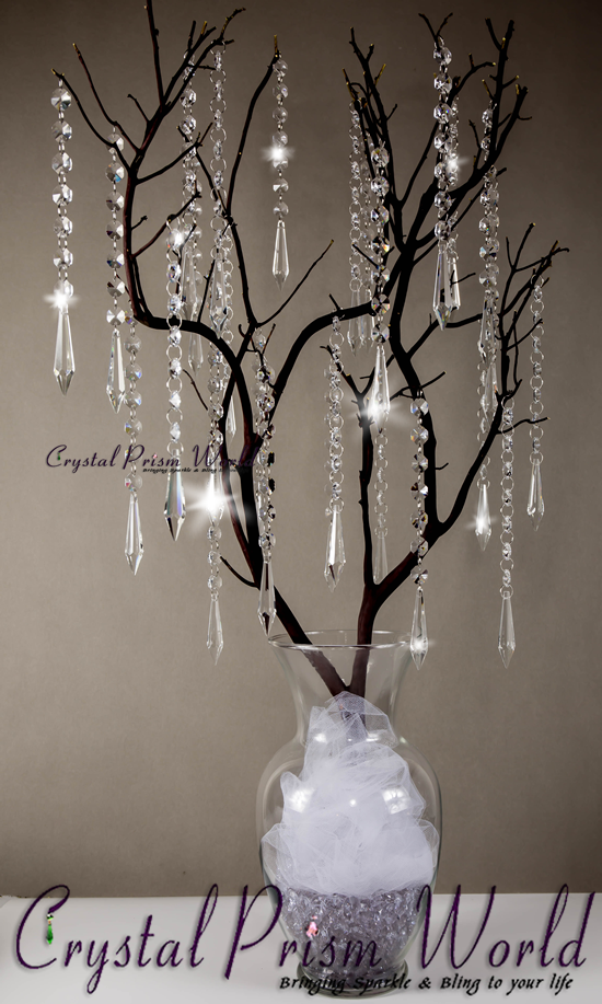 Wedding Centerpiece With Hanging Icicle Crystals Prisms Crystal Centerpieces Crystal Wedding Decor Hanging Crystals