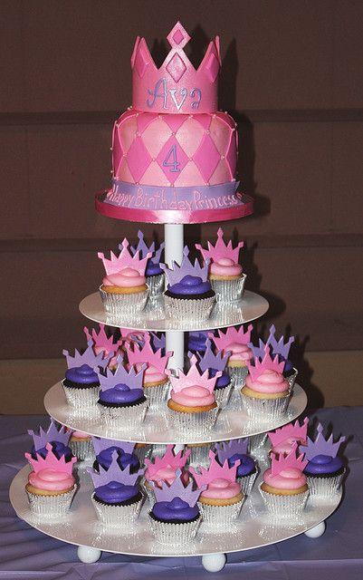 Strange Princess Tiara Cupcake Tower Cupcake Birthday Cake Cupcake Funny Birthday Cards Online Inifodamsfinfo