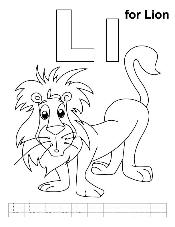 L for lion coloring page with handwriting practice | coloring with ...