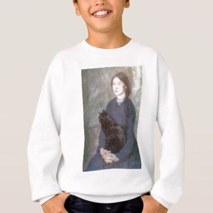 cb742771ae6 Young Woman Holding a Black Cat - Gwen John Sweatshirt - animal gift ideas  animals and pets diy customize