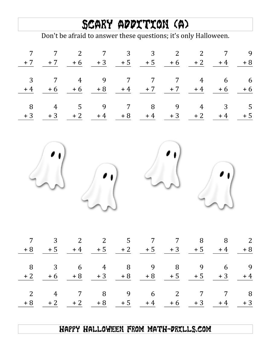 The Scary Addition with Single-Digit Numbers (A) Math Worksheet from ...