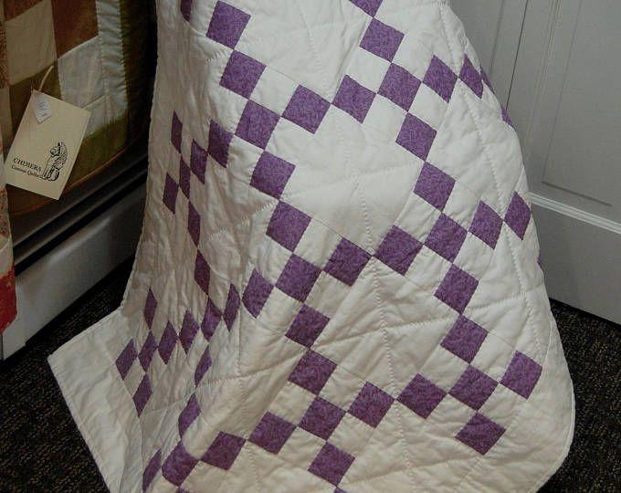 SEPTEMBER SALE, Baby quilt, Irish Chain Quilt, Purple Baby Quilt ... : irish chain quilt for sale - Adamdwight.com
