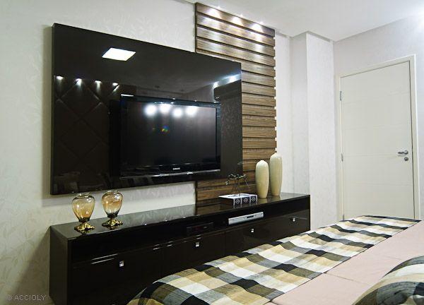 painel de tv para quarto de casal fotos  DECO  Pinterest  Televisão, Painé