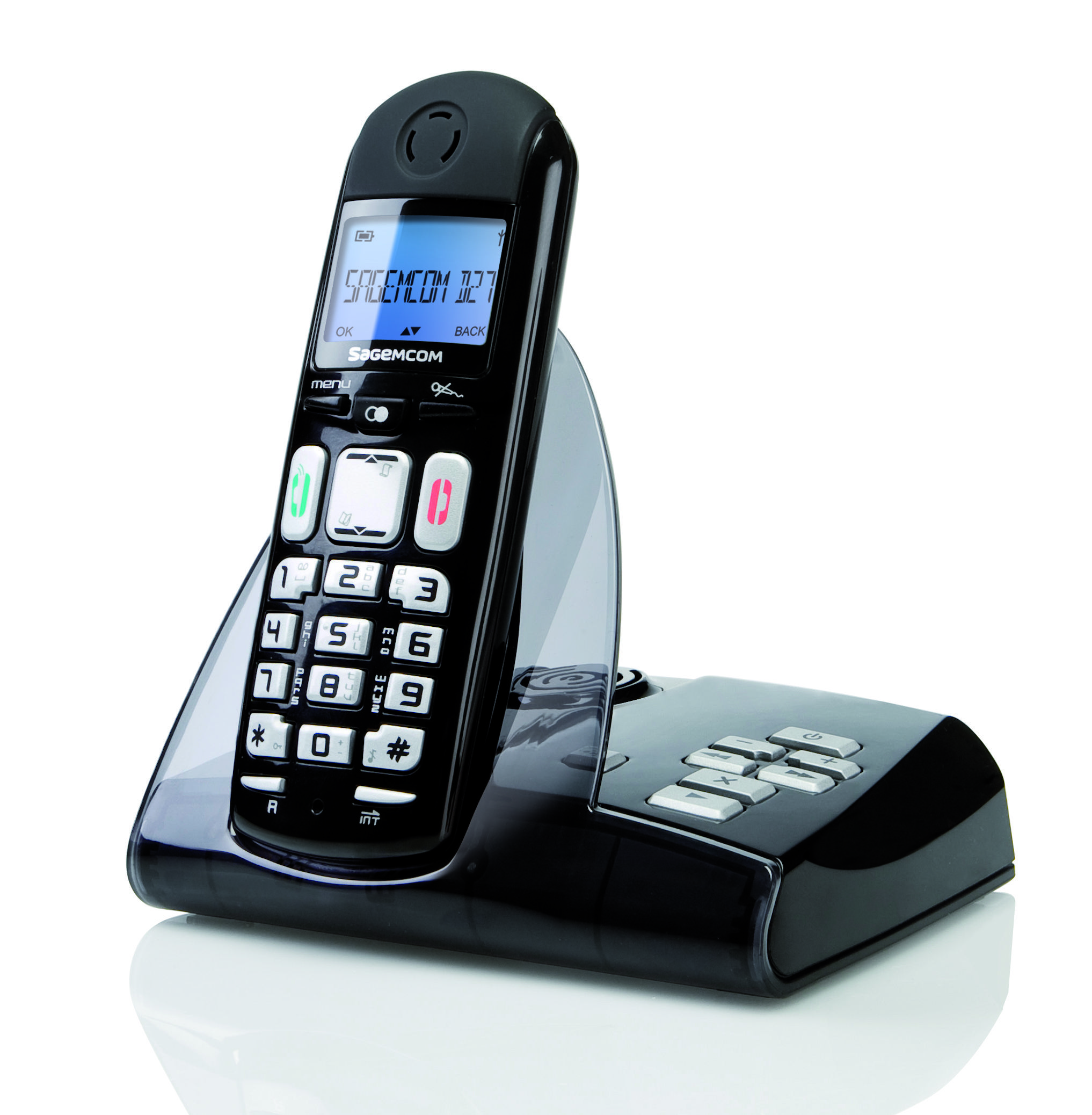 Cordless phone D27V 3/4 right HD (2034 x 2076) - solo black color