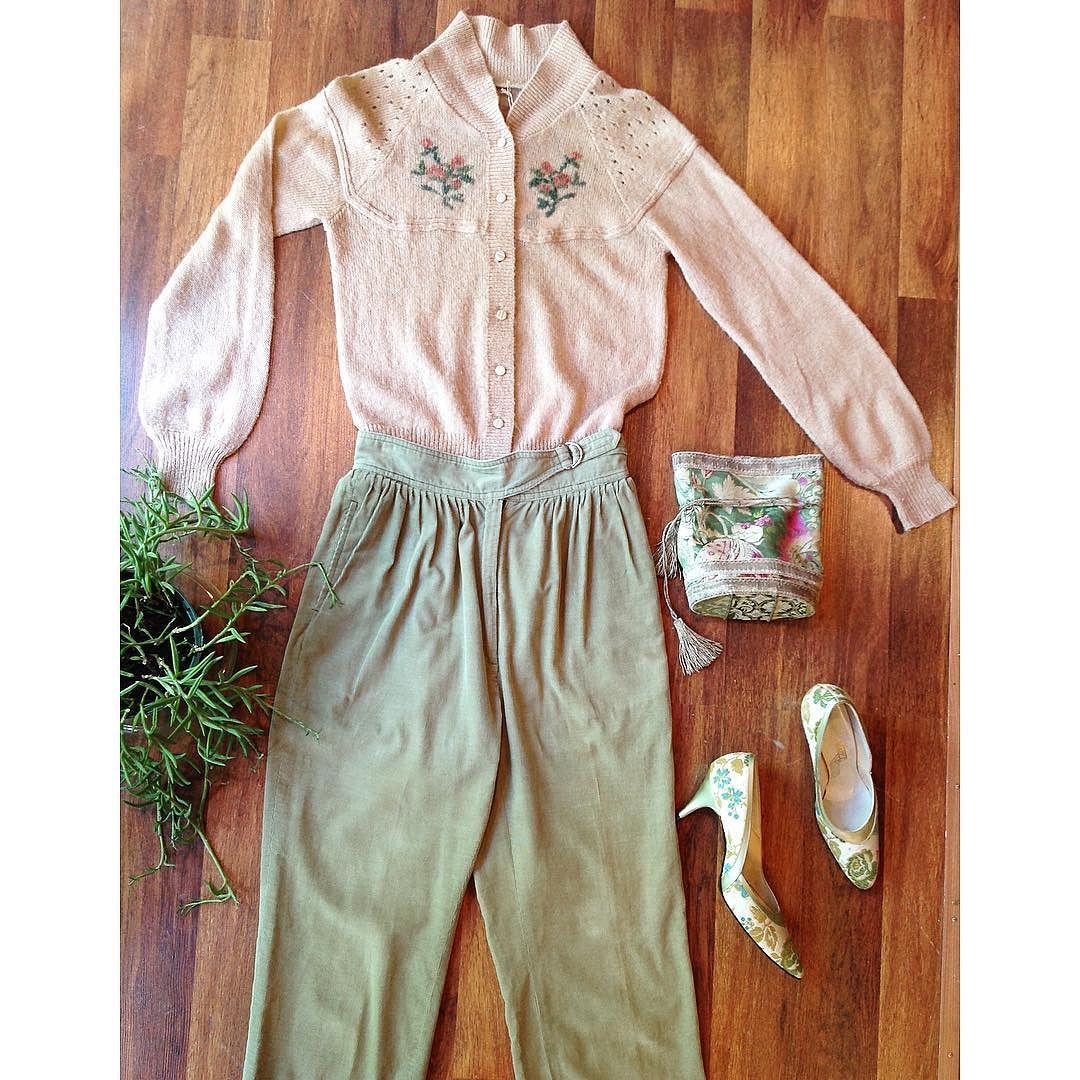 """Comfy but ladylike vibes in soft sage and blush  70s floral cardigan S - $34 70s corduroy pants 26"""" waist - $36 50s tapestry heels sz 6 - $36 Metallic pouch - $36  #luckydrygoods #shopvintage #seattlevintage #70sfashion #70sstyle #floralprint #fallvibes"""
