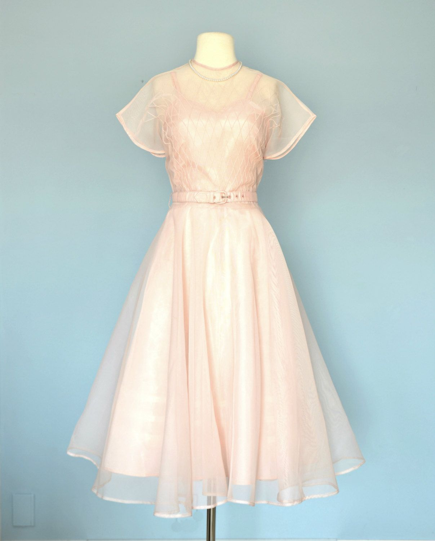 Vintage 1950s Wedding Dress / Sheer Pale Pink Tea Length by deomas ...