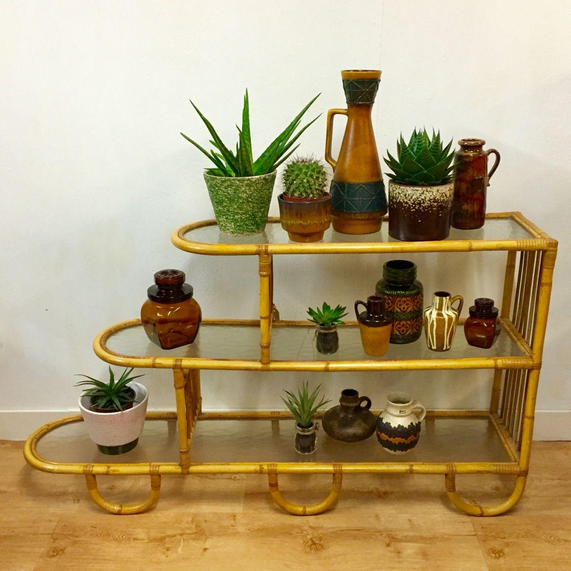 Rotan schappenkast Rohé Noordwolde Vintage plantenrek Vintage roomdivider