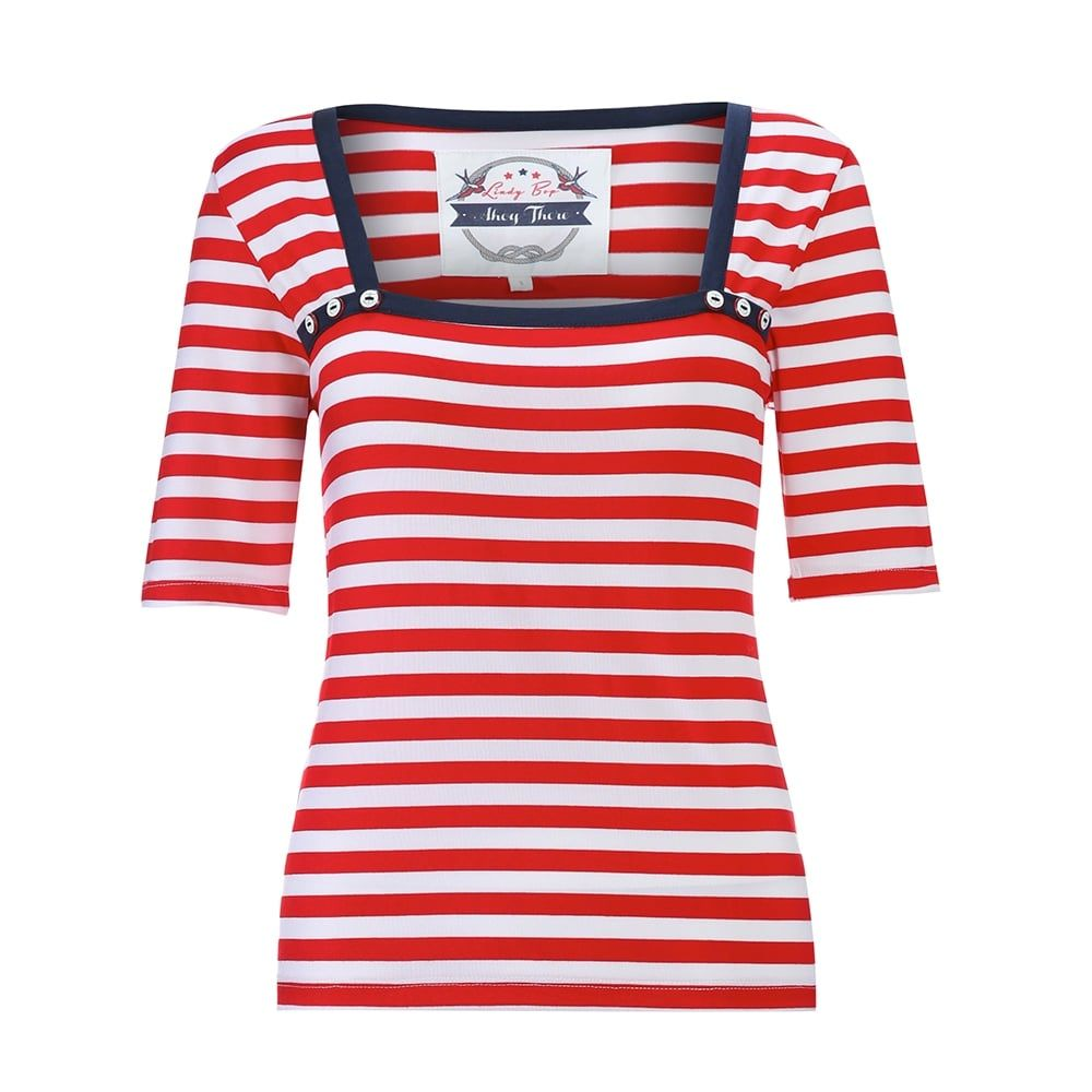 Clara Breton Stripe Red Jersey Top | Vintage Style Tops - Lindy Bop