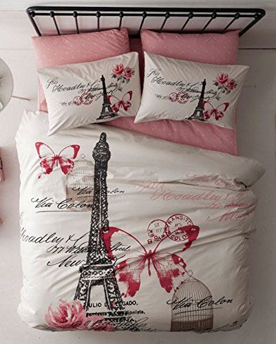 65eea819e37270 100% Turkish Cotton 4 Pcs ! Paris Eiffel Tower Theme Themed Pink Butterfly Full  Double Queen Size Quilt Duvet Cover Set Bedding 4pcs!! Made in Turkey