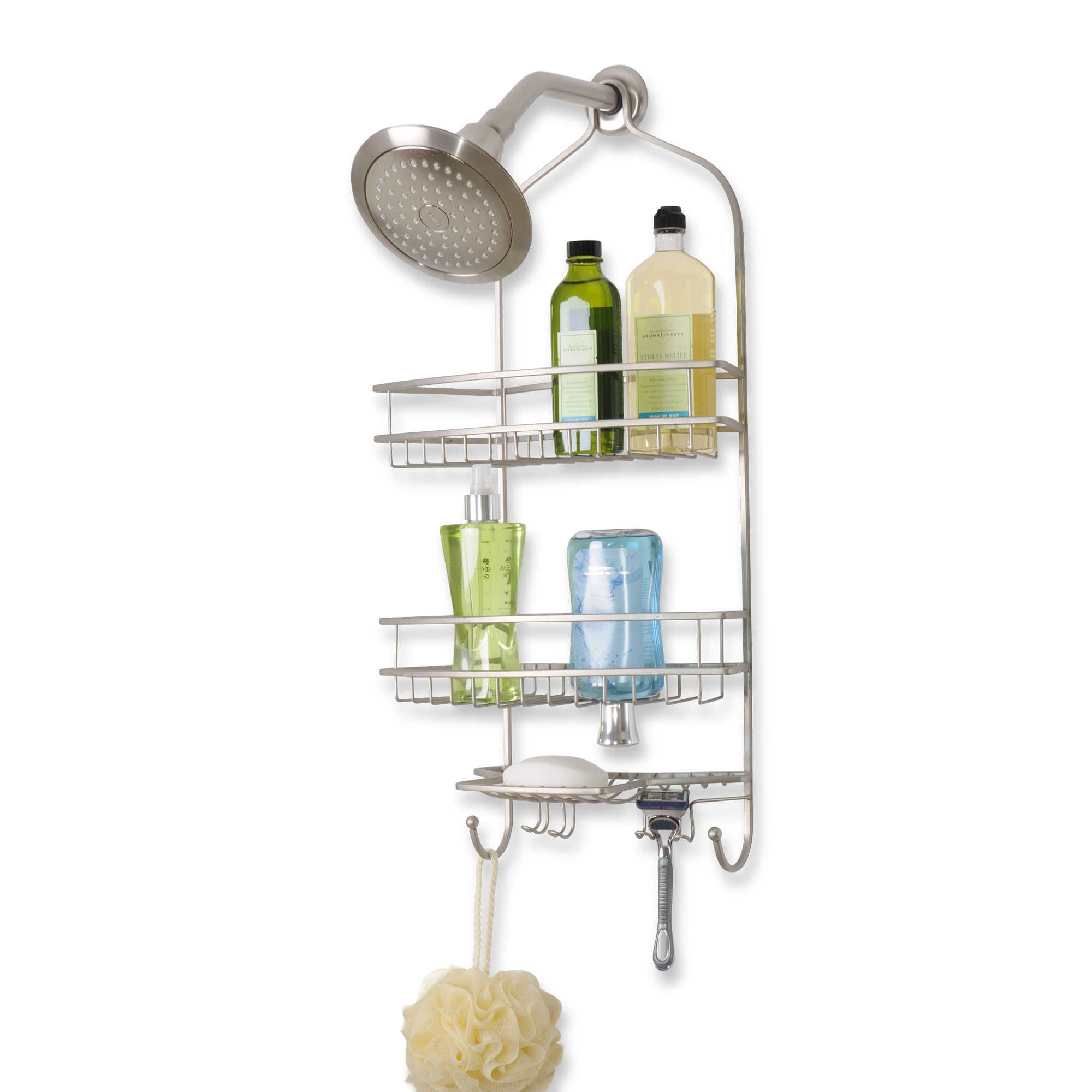 Extra Large Satin Nickel Shower Caddy