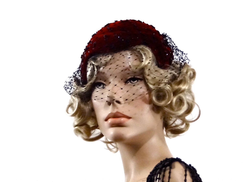 Evelyn Varon Model Beaded Toque Fascinator 1930s Cocktail Hat Burgundy  Velvet Black Veil Vintage Accessories by SueEllensFlair on Etsy 8f11ac7769b