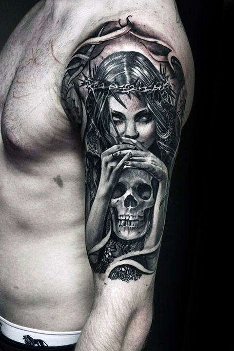 mens life death female angel holding skull half sleeve tattoo design ideas sarah pinterest. Black Bedroom Furniture Sets. Home Design Ideas