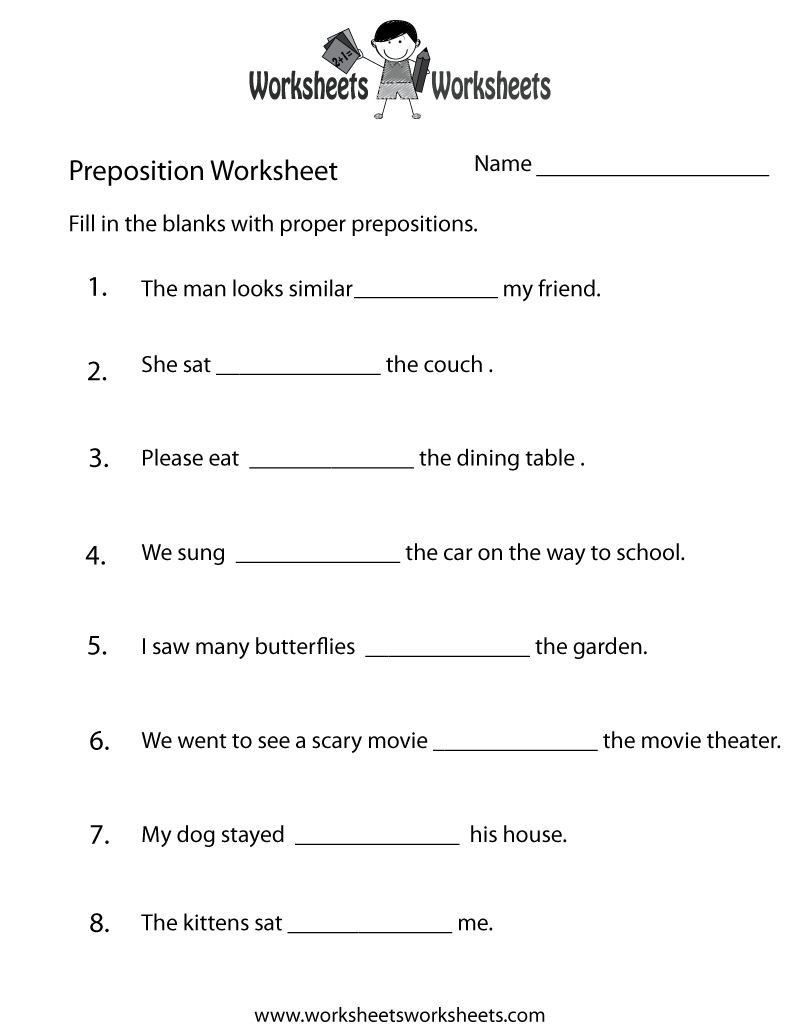 preposition worksheets | Two ways to print this free prepositions ...