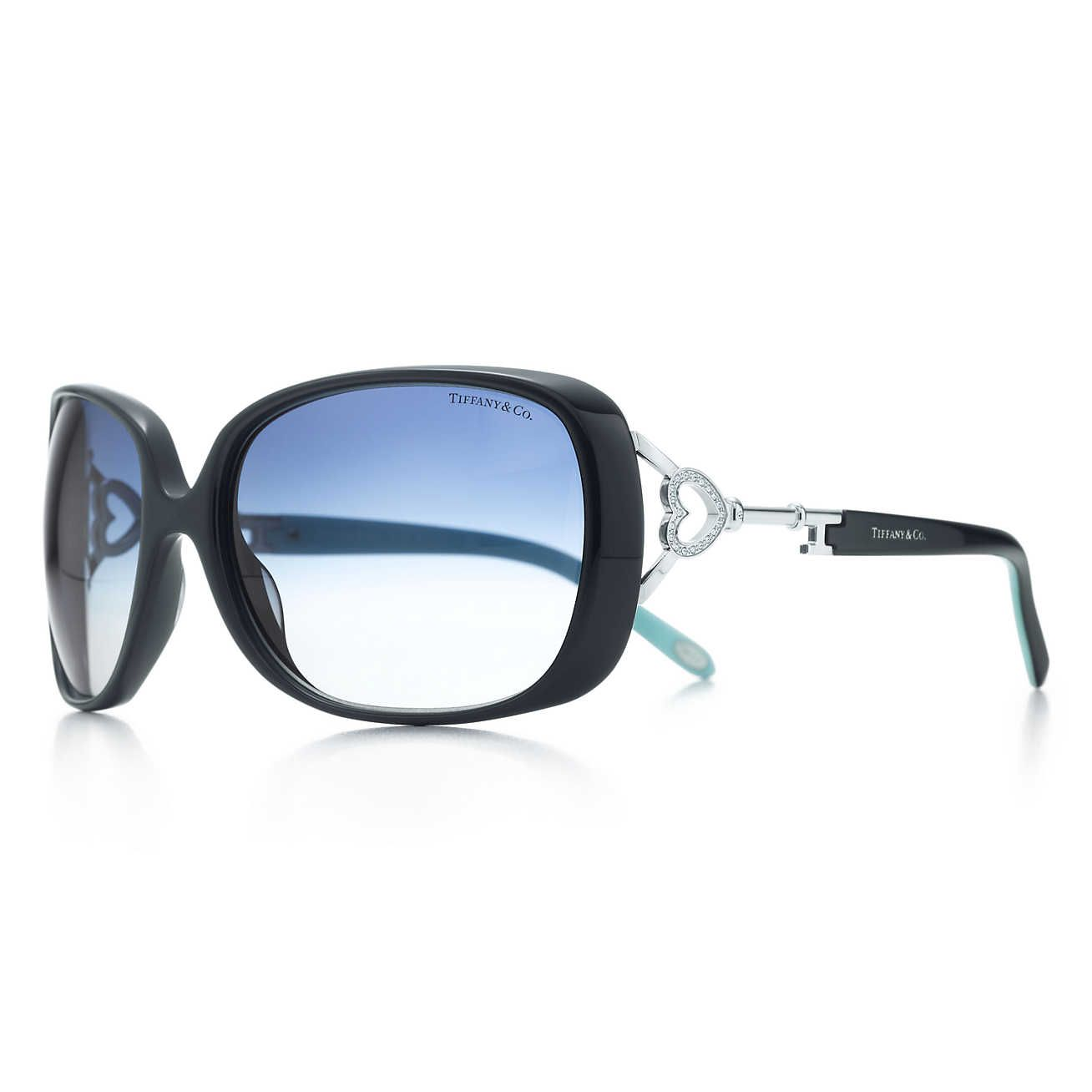 3a6ae4398650 Tiffany Keys rectangular sunglasses in black acetate with Austrian crystals.