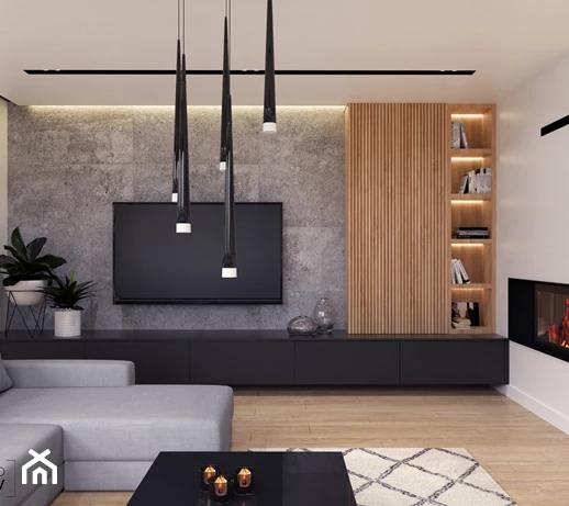 Salon z betonem na ścianie – aranżacje, inspiracje i pomysły na modny wystrój 2021