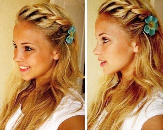 Summer hair. Side braid w/ flower clip.