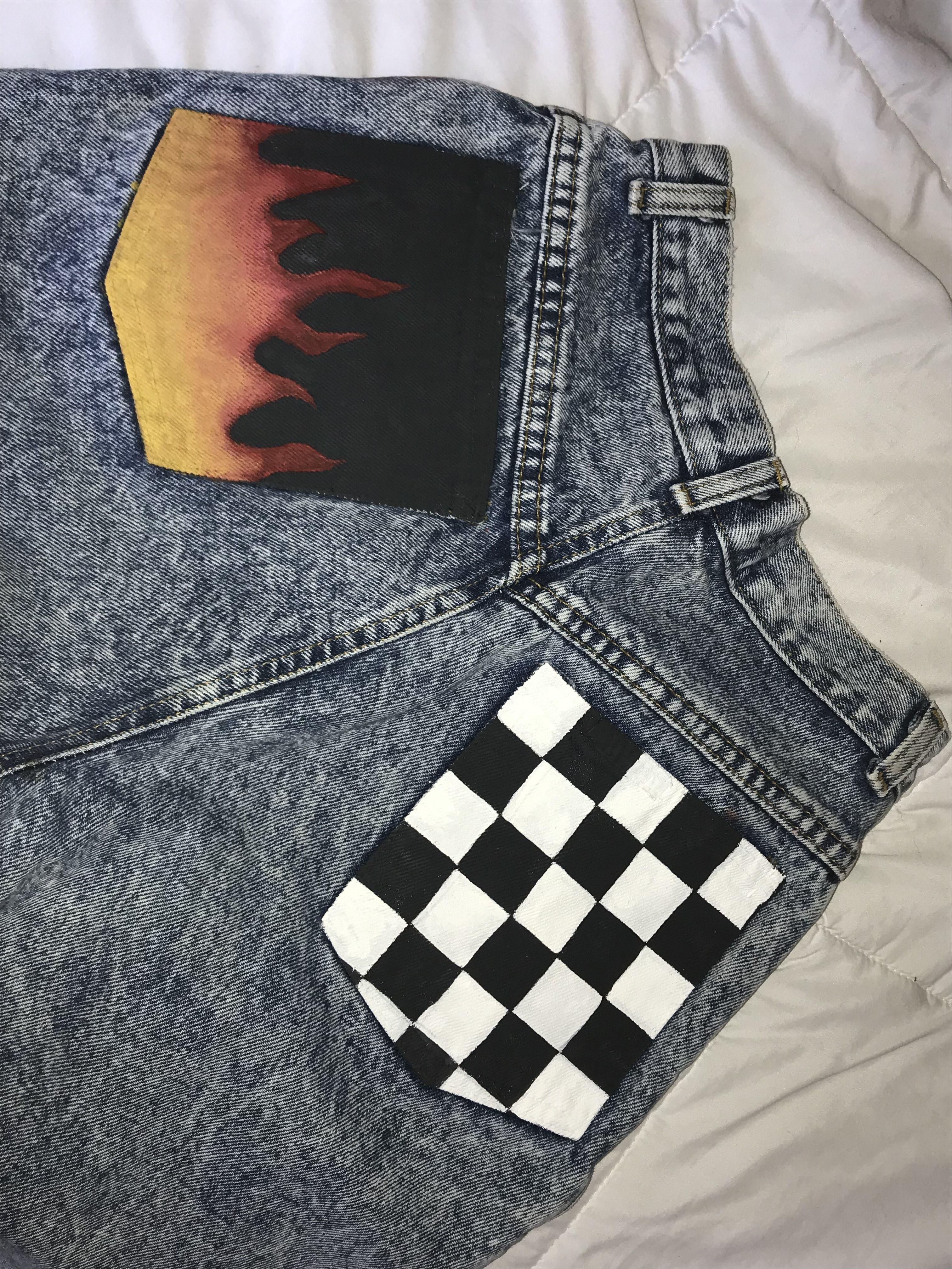 Jeans Flames Checkered Customisacao De Roupas Roupas Pintadas Roupas Artesanato