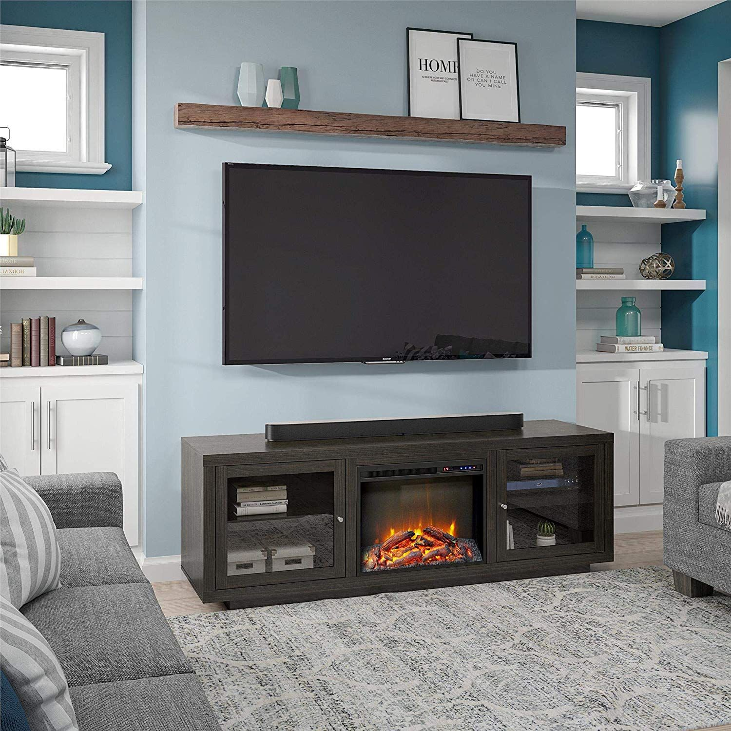 """Ameriwood Home Bailey Fireplace 75"""", Espresso TV Stand"""