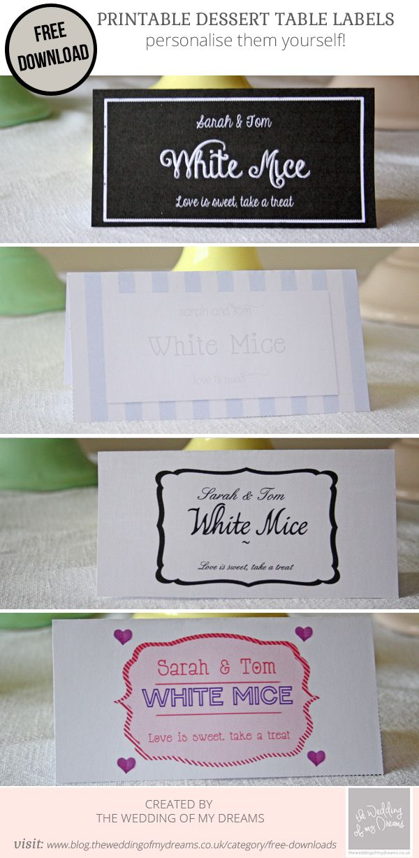 dessert table labels template free download wedding wedding