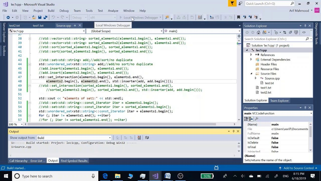 Add Two Sets Sort Sets Intersection of Two Sets in c++ and