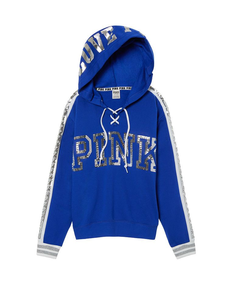 c314707e60ade Victoria Secret, VS PINK, Hoodie, Lace up hoodie, Bling lace up ...
