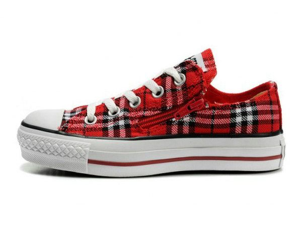 73ef1eac40ff Fascinating Converse All Star Red Black Plaid With Zipper Canvas Shoes