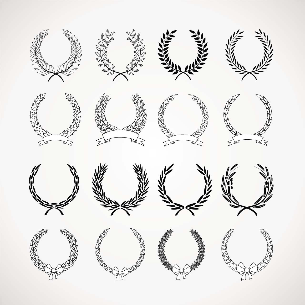 Monochrome wreaths set vector