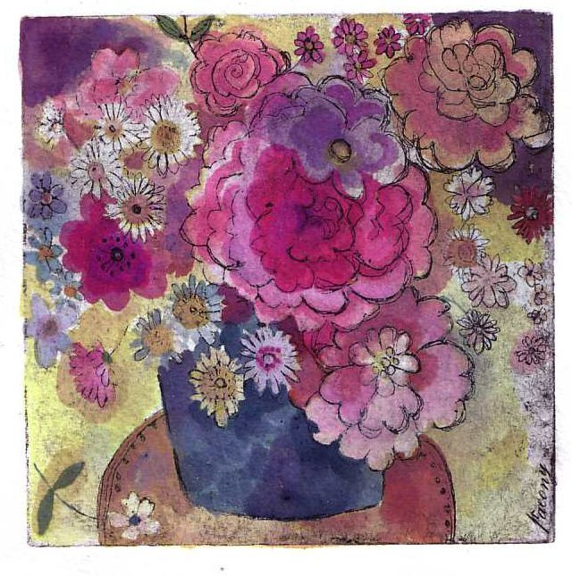 Hand tinted roses and peonies etching