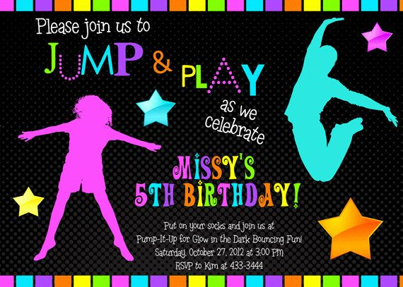 Bounce House Glow in the Dark Neon Birthday Party Invitation – Bounce Party Invitation