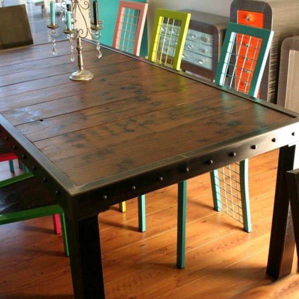 Table m tal bois maisons de style loft style loft et for Table industrielle loft