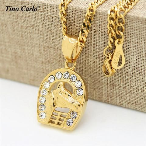 Horse Head & Horseshoe Necklace - Women/Girl Gift - Horses Jewelry