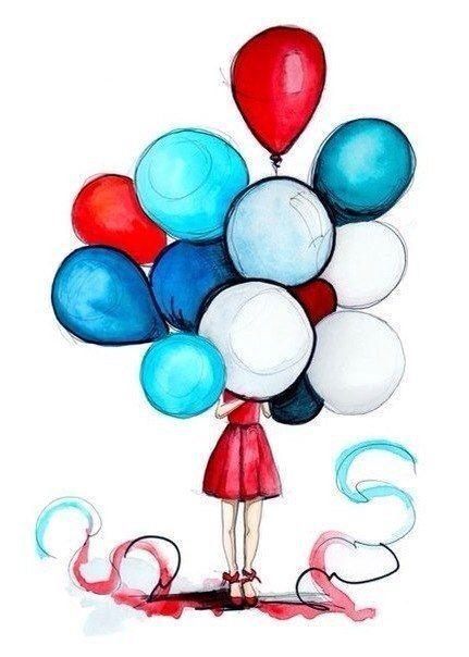 Drawing Girl Hiding Behind Balloons Happy Birthday Drawings