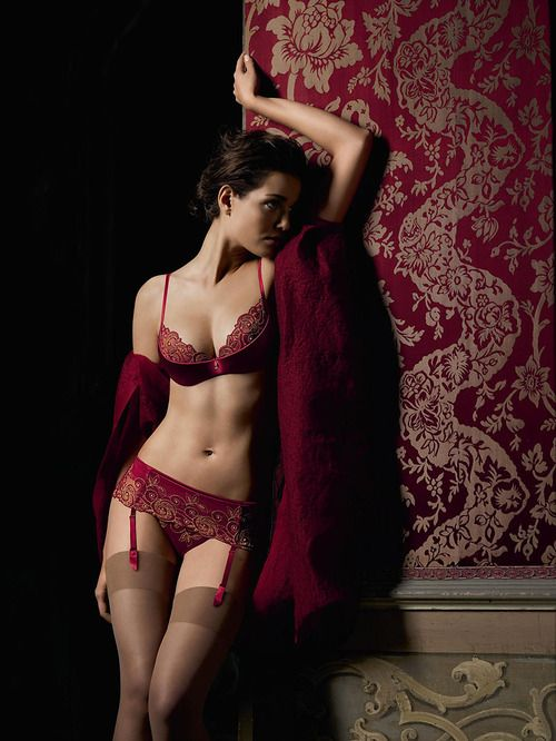13323f783df84 love dark red lace lingerie, bra and panty and garters with stockings