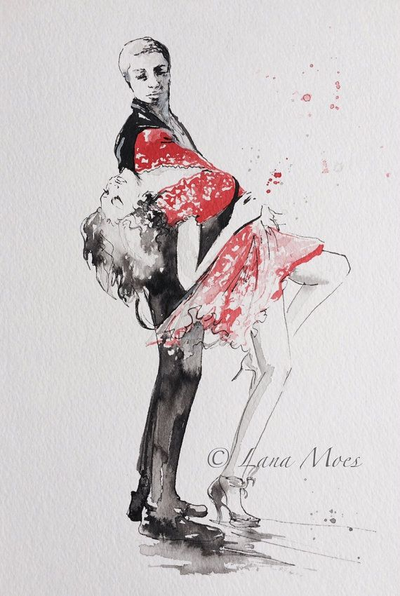 Love Romance Kiss Print from Original Watercolor by LanasArt.etsy.com #dance,#illustration, #Lana Moes