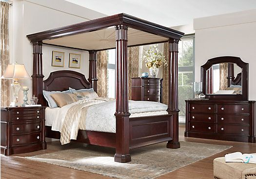 King Bedroom Sets Rooms To Go Dumont Cherry 6 Pc King Canopy Bedroom 3224405p Canopy Bedroom Sets King Bedroom Sets Bedroom Sets