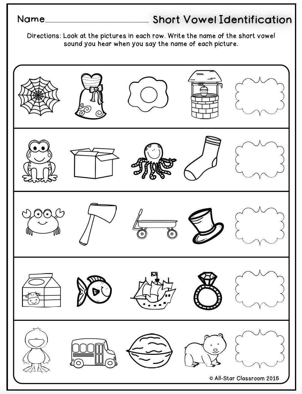 Short Vowels Identification Printables & Sorts Short