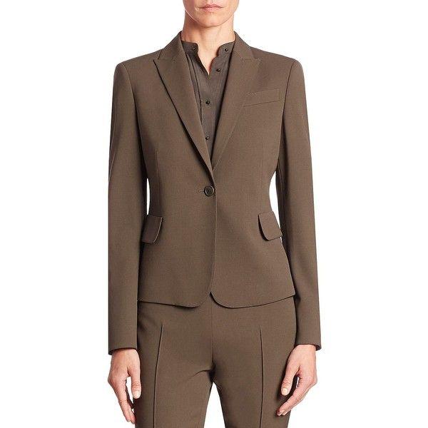 Akris punto Wool Single Button Blazer featuring polyvore, women's fashion, clothing, outerwear, jackets, blazers, apparel & accessories, akris punto, brown blazer, blazer jacket, akris punto jacket and tailored jacket