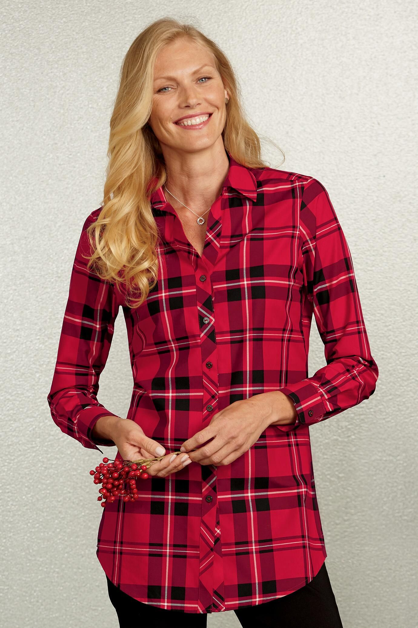 9e24d66d062 Tartan Plaid Fay Tunic by Foxcroft® | Clothing | Tartan plaid, Plaid ...