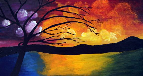 Trees Horizon a 29 3/4 x 16 Acrylic painting by AandAartsandretro