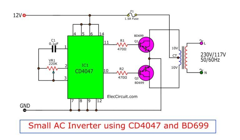 Four CD4047 Inverter circuit 60W-100W 12VDC to 220VAC ...