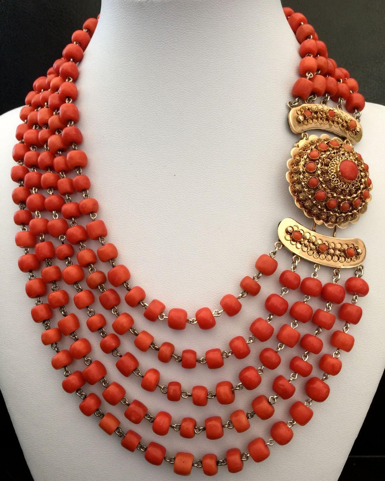 122 68 Gram Huge Antique Undyed Natural Coral Necklace 14k