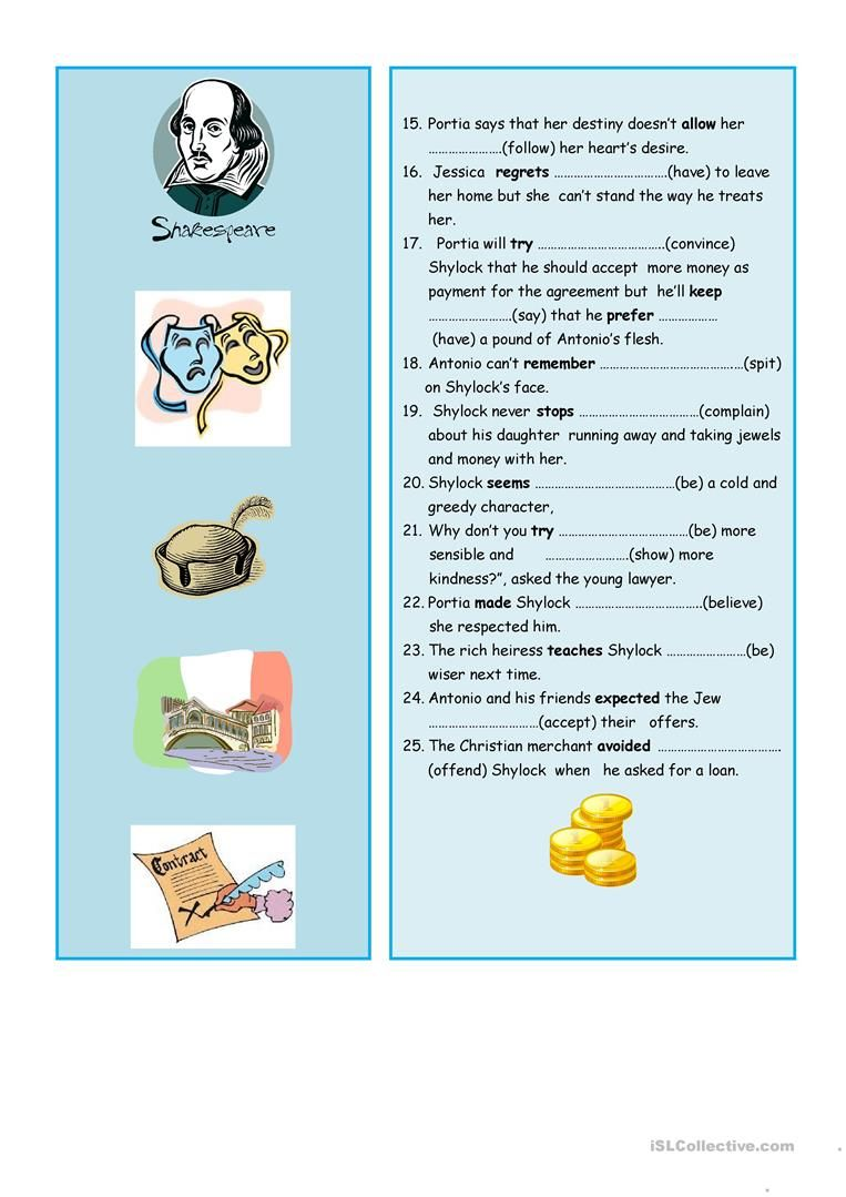 Verb Patterns Verb Pattern Worksheet Teaching Jobs