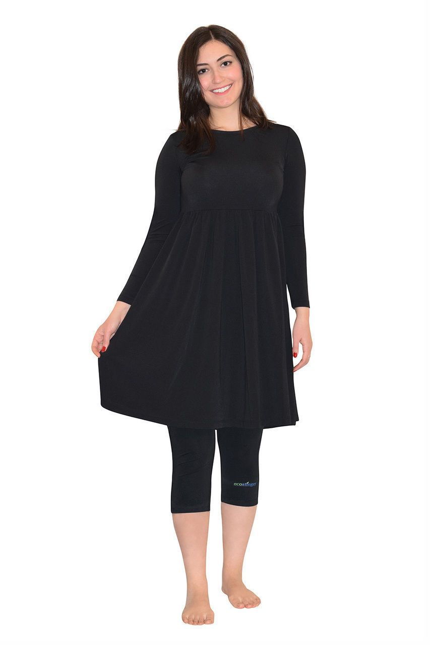 Black Swimsuit Dress with Leggings