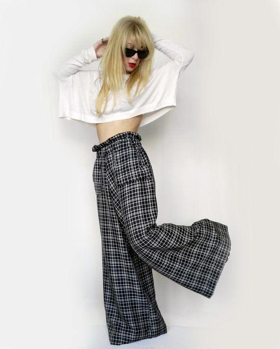 18967883a6 Checkered Palazzo Pants Black-wide leg trousers-wide leg pants ...