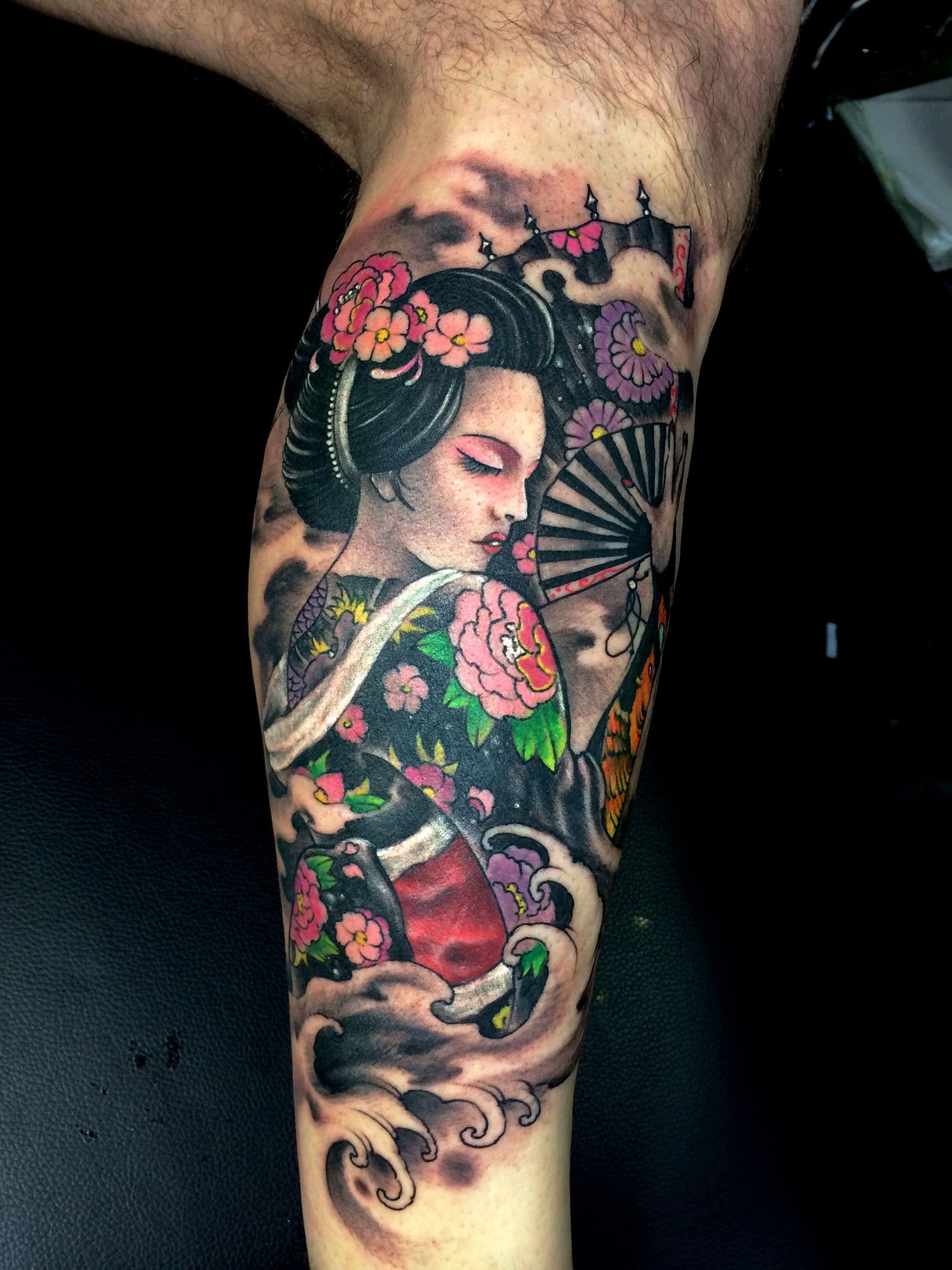 Geisha tattoo elegant geisha tattoo picture - Color Geisha Calf Tattoo Shanghaitattoo