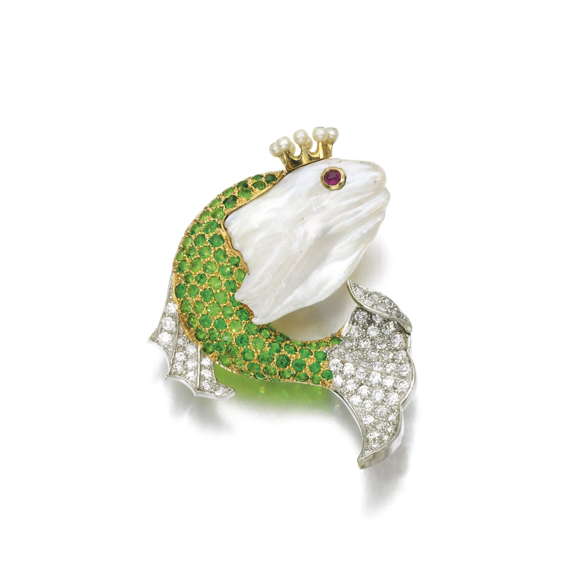 Freshwater pearl, demantoid garnet, ruby and diamond brooch Designed as a fish, the body set with circular-cut demantoid garnets and diamonds, the head set with a freshwater pearl with cabochon ruby eye and seed pearl coronet.