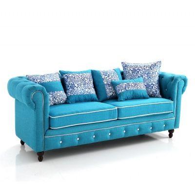 Divano Chester in Tessuto Azzurro 3 Posti con Cuscini   Divani-letto ...