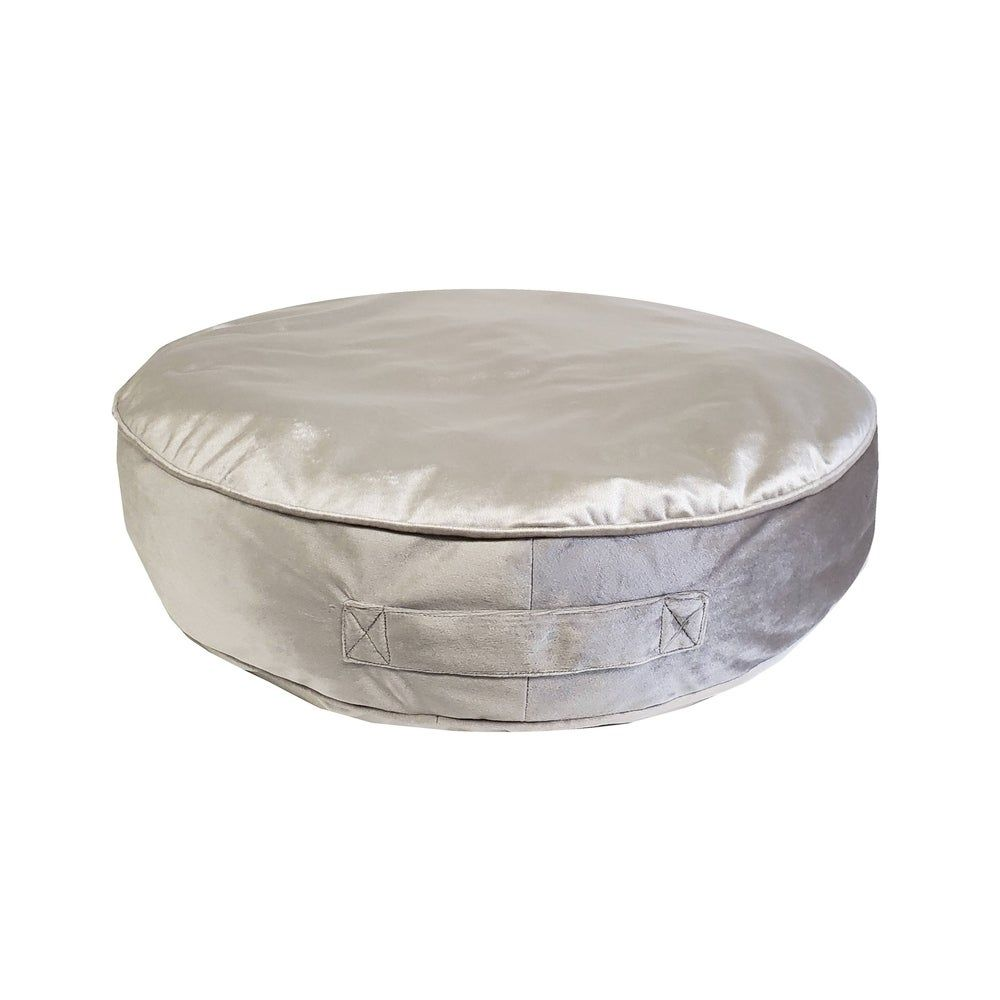 Edie At Home Velvet Round Floor Pillow, Silver Grey, Gray(Polyester, Solid Color)