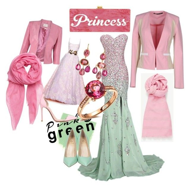 """""""Hijab or not in Pink & green"""" by surat-iraqea ❤ liked on Polyvore featuring Zuhair Murad, Gianvito Rossi, Semilla, Jacques Vert, Marie Hélène de Taillac, Edie Parker, Annarita N., BeckSöndergaard and Ann Taylor"""